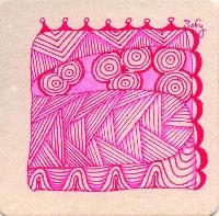 Between the Numbers Zentangle Rainbow Swap:  PINK