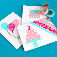 :) ~ Washi Note Card Set ~ pink and red ~