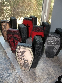 Decorated Halloween Coffin Box - Filled