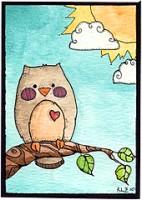 Hand Drawn/Painted Owl ATC II